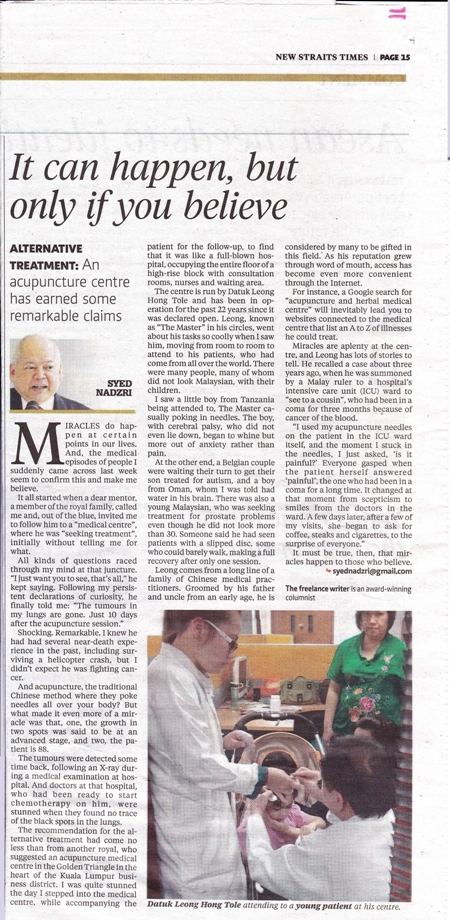The New Straits Times newspaper report on our Chinese Master's  acupuncture treatment and herbal medical treatment